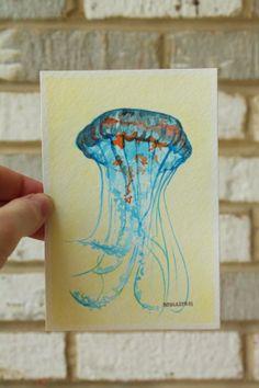 Original Watercolor Painting blue and yellow Jellyfish Art Miniature Jellyfish painting Ocean Art Small