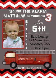 Fire Engine Birthday Invitation, Fireman Birthday, Birthday, Invitation