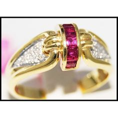 http://rubies.work/0338-sapphire-ring/ 18K Yellow Gold Promise Diamond Gemstone Ruby Ring by BKGjewels