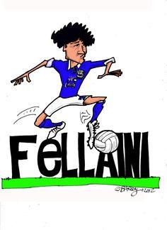 Caricature of Everton's fantastic footballer Fellaini.