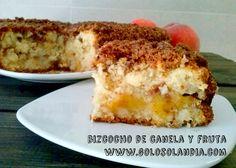 Bizcocho de canela y fruta fácil y sorprendente receta, paso a paso.  http://www.golosolandia.com/2014/09/bizcocho-de-canela-y-fruta.html