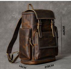 Leather Backpack For Men, Leather Wallet, Leather Backpacks, Mochila Formal, Cowhide Leather, Leather Men, Mochila Retro, Braut Make-up, Vintage Backpacks