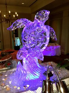Sea Turtle ice sculpture for an event - the centerpiece to their buffet. #icesculptures #orlandoicesculptures