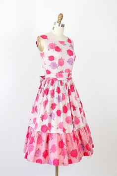 Pink and Purple Floral 1950's Dress from Etsy