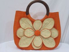 Mar-Y-Sol-Guadeloupe-Handbag-Purse-Orange-Natural-Flower-Wooden-Handles-Lined