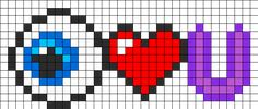 Eye Heart U Perler Bead Pattern / Bead Sprite