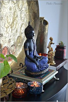 Yoga room home zen Ideas Buddha Wall Art, Buddha Painting, Buddha Statue Home, Buddha Garden, Buddha Zen, Home Decor Furniture, Home Decor Items, Buddha Home Decor, Indian Inspired Decor