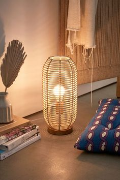 Urban Outfitters Home Table Lamp Wood, Ceramic Table Lamps, Desk Lamp, Urban Outfitters, Bamboo Weaving, Room Divider Screen, Shops, Boho Living Room, Unique Lamps