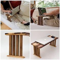 Bedside Laptop Table Wood Lap Desk Sofa Table End by lessandmore
