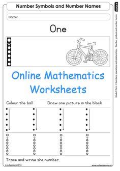 Grade R Online Mathematics Worksheets. For more visit www.e-classroom.co.za
