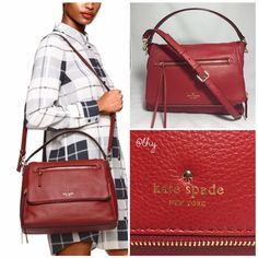 """KATE SPADE COBBLE HILL TODDY BAG - RED Authentic like new Kate Spade Toddy Bag. Approx 13""""W x 9.7""""H x 3.7""""D. Approx strap drop 5"""". Optional adjustable shoulder strap drop 19""""-22"""". Soft pebbled leather in red (I believe """"Dynasty Red""""). Gold tone hardware. Exterior zipper pocket on front flap and zip flap compartment. Interior zip and two slip pockets. Embossed KSNY logo & gold spade stud on front flap. Dustbag not included. ❌❌NO TRADES NO PP PLEASE DO NOT ASK❌❌ kate spade Bags Shoulder Bags"""