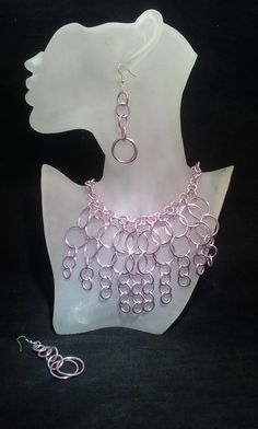 Pink Colored Wire Necklace Earrings Set by SoftlySisterDesigns