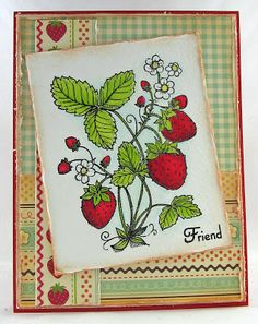 Flourishes Strawberries card - bjl