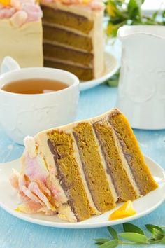Pumpkin cake with chocolate and caramel cream.