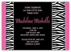 """Zebra Diva Birthday Invitation - Beautiful custom cards as low as $1.15 - Planning your child's birthday party can be so much fun! It can also be stressful and frustrating...finding products to match, going store to store, etc. Let Amy'sCardCreations make it EASY for you to wow your guests. I'll create your personalized invitations, thank you notes, party favors & decor to match your theme & specifications. """"Create your own Party Pack"""" Discount Coupon Code to save 15% Kids Birthday Party Invitations, Baby Shower Invitations, Party Favors, Personalized Invitations, Custom Invitations, Diva Party Decorations, Twin Birth Announcements, Birthday Yard Signs, Twin Birthday"""