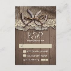 Charming old burlap, barn wood, ivory lace and horse shoes western wedding RSVP cards for country weddings in the ranch, barn or farm. Size: x Color: Matte. Brown Wedding Invitations, Wedding Invitations Online, Rustic Invitations, Wedding Rsvp, Farm Wedding, Bridal Shower Invitations, Wedding Cards, Green Wedding, Wedding Rustic