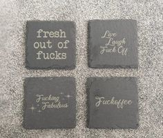 Rude Funny Slate Coasters Adult Inappropriate Humour Gift image 0 Slate Coasters, Wooden Coasters, Unique Gifts, Great Gifts, Handmade Gifts, Bamboo Pen, Housewarming Present, Best Gifts For Her, New Home Gifts