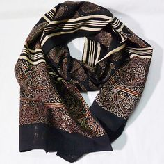 Block print Black stole AJRAKH PRINT Kamala from by CHARKHASTORE
