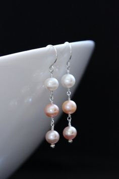Freshwater Pearl Trio Earring, Argentium Sterling Silver, White Peach Pink Mauve, 3 Three Triple, June Birthstone - Gracie, by Princess Ting Ting Jewelry @ Etsy