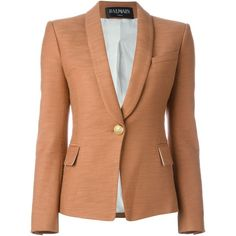Balmain One Button Blazer ($1,660) ❤ liked on Polyvore featuring outerwear, jackets, blazers, pink, cotton blazer, long sleeve shawl, pink blazer jacket, shawl jacket and shawl lapel jacket