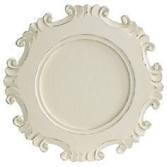 Carved White Charger Plate  sc 1 st  Pinterest & Crafted of mango wood with a sophisticated silhouette these ...