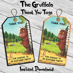The Gruffalo Birthday Party Thank You Tag * Thank You Card * Digital Printable Instant Download File by DreamsDigital on Etsy https://www.etsy.com/uk/listing/466117309/the-gruffalo-birthday-party-thank-you