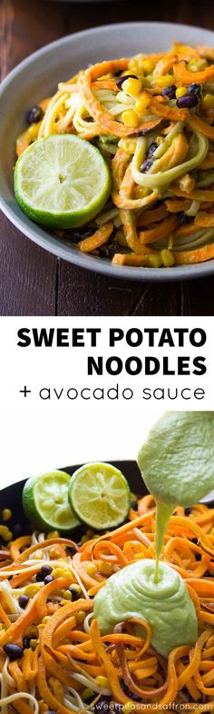 These easy vegan sweet potato noodles are tossed with linguine, corn and black beans in a creamy garlic avocado sauce, and are on your table in 30 minutes!