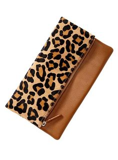 Leopard foldover clutch.