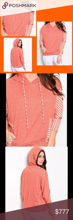 COMING SOON Rust Sweater Cool hoodie style sweater features batwing sleeves, drawstring accent on hood and contrasting stripe print. 60% polyester 40% cotton. Please check out my other items from my closet for a bundle discount. PRICE FIRM UNLESS BUNDLED. Sweaters