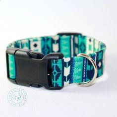 Southwestern / Tribal dog collar / teal dog collar / turquoise / pet accessories / boy dog collar / girl dog collar / designer dog collar by SimplyTayloredDesign on Etsy