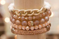 Bubbly Treasure stacked bracelets