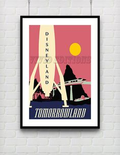 Vintage DISNEYLAND TOMORROWLAND ROCKET Poster by VIVIDEDITIONS, $25.00