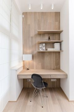 Simple wood office nook desk nook, home office decor, office nook. Desk Nook, Office Nook, Desk Space, Study Office, Small Workspace, Workspace Desk, Wall Desk, Desk Chair, Alcove Desk