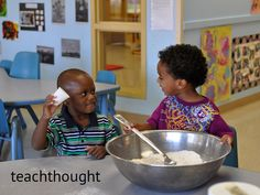 Jaeon Cleveland and Jaylen Jackson work together to make play dough at Watters CDC #2 Tuesday. Creative Curriculum is used at all the CDCs on post, and the program encourages hands-on learning.