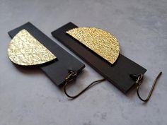 Unique geometric earrings gold moon earrings unusual black | Etsy