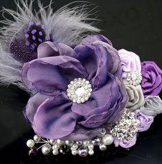 Bridal Hair Fascinator Bridal Hair Clip in Purple by SolBijou