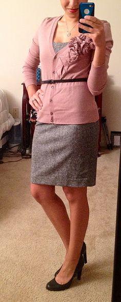 Dress. Cardigan. Belt.
