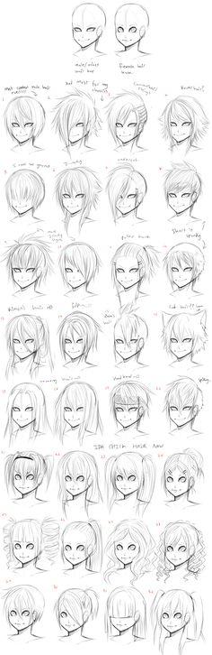 32 Hairstyles for Manga Characters - male and female, by AishaxNekox on deviantART. >> The expressions on these characters are a bit scary, but the hair ideas are good. :)