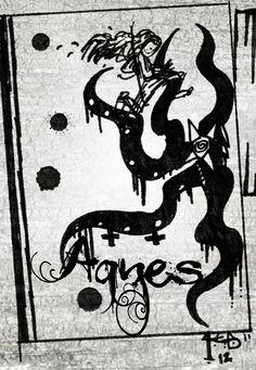 Agnes v Kraken...  grunge.  Windsor & Newton series 7, Dr. Ph Bombay ink, bristol.  comics