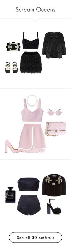 """Scream Queens"" by dessa-sweetheart ❤ liked on Polyvore featuring Dolce&Gabbana, Raoul, Chanel, Topshop, Giambattista Valli, Siren, Miu Miu, Chico's, Katie Ermilio and Giamba"