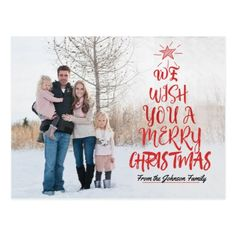 Merry Christmas Typography  Family Photo Card - merry christmas postcards postal family xmas card holidays diy personalize