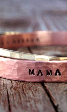 Gift for Mom / Personalized Gold and Copper CUFFS / Name Jewelry / Hammered Inspirational Cuffs Rustic Gift for Her by amywaltz Name Jewelry, Jewelry Box, Jewelry Accessories, Jewelry Making, Jewelry Chest, Mother Day Gifts, Gifts For Mom, Great Gifts, Personalized Jewelry
