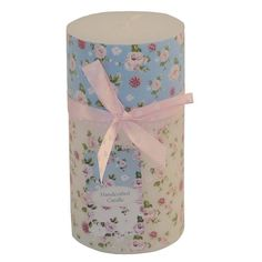 Try these beautiful rose scented pillar candles. Embellished with pink rose design on a blue and white background and pink ribbon with white dots. These candles would provide a special feature for your home or make a perfect present. Available in 3 sizes; Small, Medium and Large. www.craftyjungle.co.uk/p-601-rose-pinkblue-pillar-candle-with-ribbon.aspx