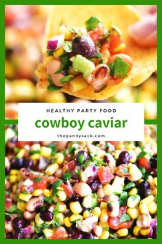 Need some healthy party food? Make cowboy caviar and serve it with tortilla chips! Need some healthy party food? Make cowboy caviar and serve it with tortilla chips! Veggie Party Food, Healthy Party Snacks, Easy Party Food, Healthy Appetizers, Appetizer Recipes, Cold Party Food, Healthy Dip Recipes, Summer Salad Recipes, Diet Recipes