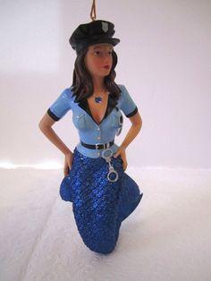 Mermaid Christmas Ornament Siren December Diamonds Police Officer Figurine Cop