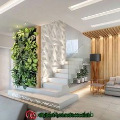 200 Modern indoor plants ideas for home interior decor design 2020 trends Home Stairs Design, Interior Stairs, Modern House Design, Interior Design Living Room, Living Room Designs, Living Room Decor, Bedroom Decor, Ceiling Design, Home Decor Furniture