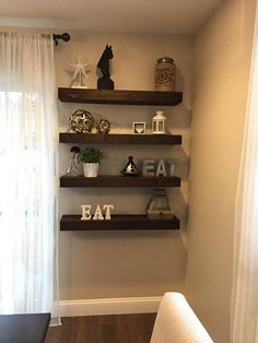Welcome to Soil and Sawdust. Please read the listing in its entirety before purchasing. You are viewing beautifully handcrafted floating shelves. These rustic shelves will add charm to any home. These shelves are hand sanded for a smooth finish and available in many stain colors. Our handcrafted floating shelves are made from solid wood and will include hardware for mounting (which includes screws, drywall anchors and pre-drilled shelf bracket) along with instructions. We recommend that the…