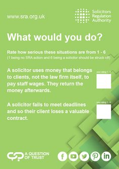 The Solicitors Regulation Authority (SRA) regulates solicitors in England and Wales. Report a solicitor, check a solicitor's record or learn what to expect from your solicitor. Protecting consumers of legal services University Of Warwick, Citizen, Conference, Law, Trust, Advice, Author, This Or That Questions, Tips