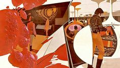 """1970 SYD MEAD illustration for PHILLIPS Electronics ad campaign in Holland. He started his visions of the future in 1959 for FORD. Eventually doing design for  BLADE RUNNER & TRON. Heavy Psych Rock band DANAVA used one of his 70's """"Playboy Land Yacht"""" illustrations for their second album cover art."""