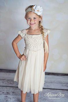 458761143eb Country chic cream toddler dress crochet lace flower girl birthday 2-9Y
